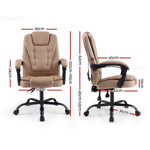 Artiss Massage Office Chair PU Leather Recliner Computer Gaming Chairs Espresso