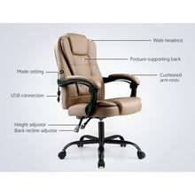 Load image into Gallery viewer, Artiss Massage Office Chair PU Leather Recliner Computer Gaming Chairs Espresso