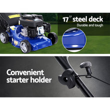"Load image into Gallery viewer, Lawn Mower 139cc 17"" Petrol Powered Push Lawnmower 4 Stroke Steel Deck"