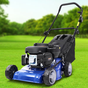 "Lawn Mower 139cc 17"" Petrol Powered Push Lawnmower 4 Stroke Steel Deck"