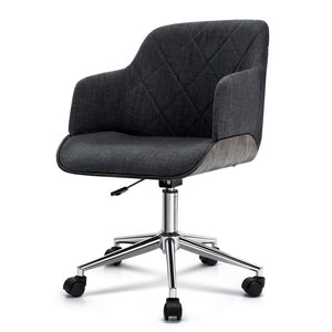 Artiss Wooden Office Chair Computer Gaming Chairs Executive Fabric Grey
