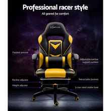 Load image into Gallery viewer, Artiss Office Chair Computer Desk Gaming Chair Study Home Work Recliner Black Yellow
