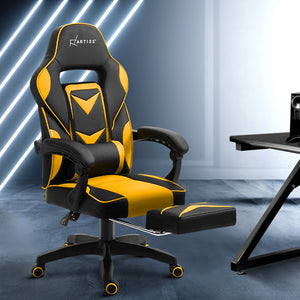 Artiss Office Chair Computer Desk Gaming Chair Study Home Work Recliner Black Yellow