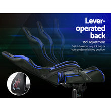 Load image into Gallery viewer, Artiss Gaming Office Chairs Computer Seating Racing Recliner Racer Black Blue