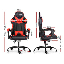Load image into Gallery viewer, Artiss Gaming Office Chairs Computer Seating Racing Recliner Racer Black Red