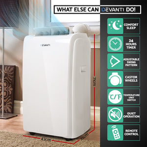 Devanti Portable Air Conditioner Mobile Fan Cooler Dehumidifier 22000BTU
