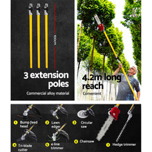 Load image into Gallery viewer, Giantz 75cc Pole Chainsaw Brush Cutter Hedge Trimmer Petrol Long Reach Whipper