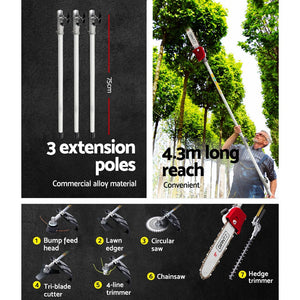 """Giantz 65cc Petrol Pole Chainsaw Pruners 2 Stroke Long Chainsaws Hedge trimmer Brush Cutter Chain Saw Whipper Snipper Multi Tool"