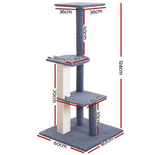 Load image into Gallery viewer, i.Pet Cat Tree 124cm Trees Scratching Post Scratcher Tower Condo House Furniture Wood Steps