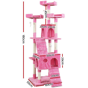 i.Pet Cat Tree 180cm Trees Scratching Post Scratcher Tower Condo House Furniture Wood Pink