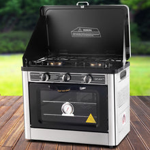 Load image into Gallery viewer, Devanti 3 Burner Portable Oven - Silver & Black