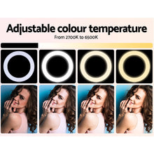 "Load image into Gallery viewer, 19"" LED Ring Light 6500K 5800LM Dimmable Diva With Stand Make Up Studio Video"