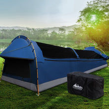 Load image into Gallery viewer, Weisshorn Double Swag Camping Swags Canvas Tent Deluxe Dark Blue Large Bag