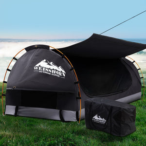 Weisshorn Swag King Single Camping Swags Canvas Free Standing Dome Tent Dark Grey with 7CM Mattress