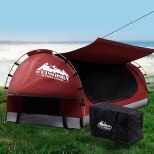 Weisshorn Swag King Single Camping Swags Canvas Free Standing Dome Tent Red with 7CM Mattress