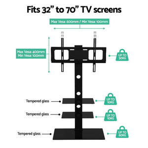Artiss Floor TV Stand Brakcket Mount Swivel Height Adjustable 32 to 70 Inch Black