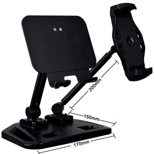 Universal and Adjustable Double Arm Stand Holder Black