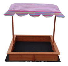 Load image into Gallery viewer, Kids Wooden Toy Sandpit with Adjustable Canopy