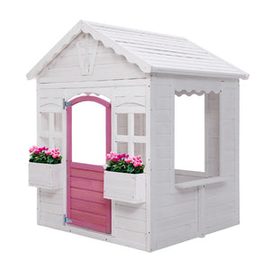Kids Cubby House Wooden Outdoor Childrens Gift Pretend Play Set