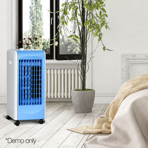 Devanti Portable Air Cooler and Humidifier Conditioner - White & Blue