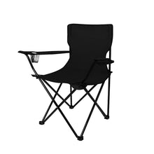 Load image into Gallery viewer, 2Pcs Folding Camping Chairs Arm Foldable Portable Outdoor Fishing Picnic Chair Black