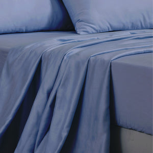 DreamZ 4 Pcs Natural Bamboo Cotton Bed Sheet Set in Size King Bluish Grey