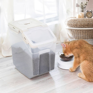 Pet Food Container Dog Cat Feeding Feeder Storage Box With Wheel 10L