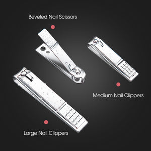 18PCS Manicure Pedicure Stainless Toe Nail Clippers Kit Cuticle Grooming Tools