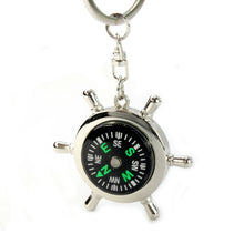Load image into Gallery viewer, New Creatively DesignPortable Alloy Silver Nautical Compass Helm Keychain KeyRing Chain Gift Hiking Navigation accessories