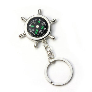 New Creatively DesignPortable Alloy Silver Nautical Compass Helm Keychain KeyRing Chain Gift Hiking Navigation accessories