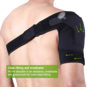 Shoulder Brace For Men Women Breathable Support With Adjustable Strap for Rotator Cuffs AC Joint Dislocated Prevention Tear Injury Relieve Pain Stabilize Protect Shoulders (Black)