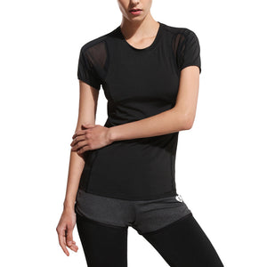 Women's Fitness Elastic Yoga Top Sexy Cross Cold Shoulder Top Short Sleeve Splice Mesh Clubwear Party T-Shirt - Size L (Black)
