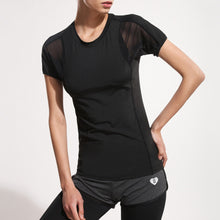 Load image into Gallery viewer, Women's Fitness Elastic Yoga Top Sexy Cross Cold Shoulder Top Short Sleeve Splice Mesh Clubwear Party T-Shirt - Size L (Black)