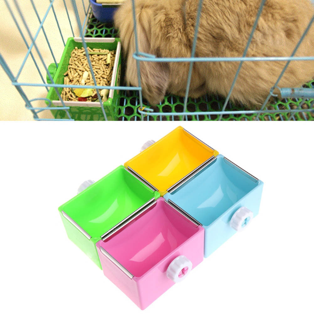 Stainless Steel Water Food Feeder Feeding Rabbit Hanging Cage Square Bowls Removable Pet Bowl with Bolt Holder for Cage Pet Supplies