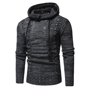 Men's Autumn Winter Pullover Knitted Cardigan Coat Hooded Sweater Jacket Outwear