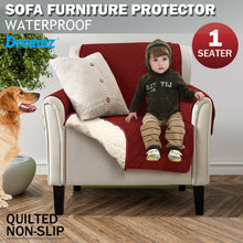 Load image into Gallery viewer, 1 Seater Couch Sofa Cover Removable Quilted Slipcover Pet Kids Protector