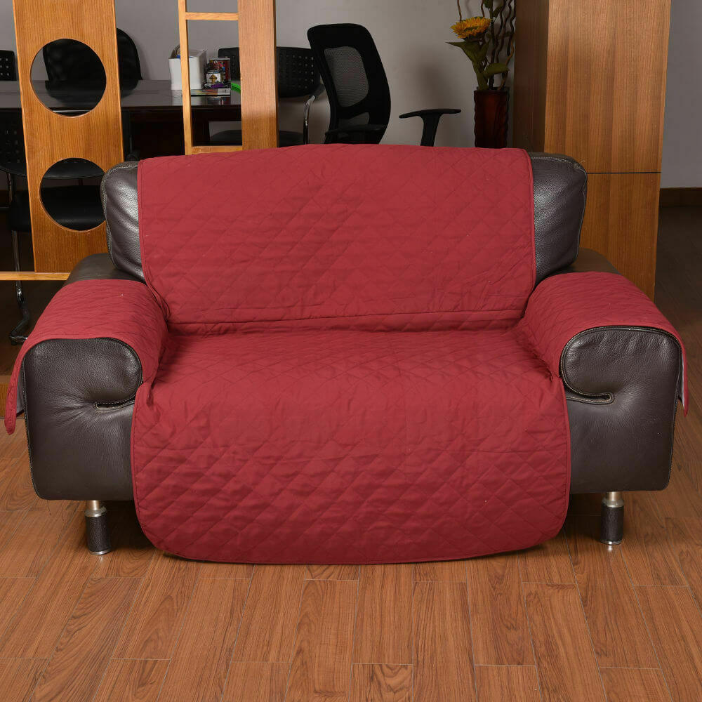 1 Seater Couch Sofa Cover Removable Quilted Slipcover Pet Kids Protector
