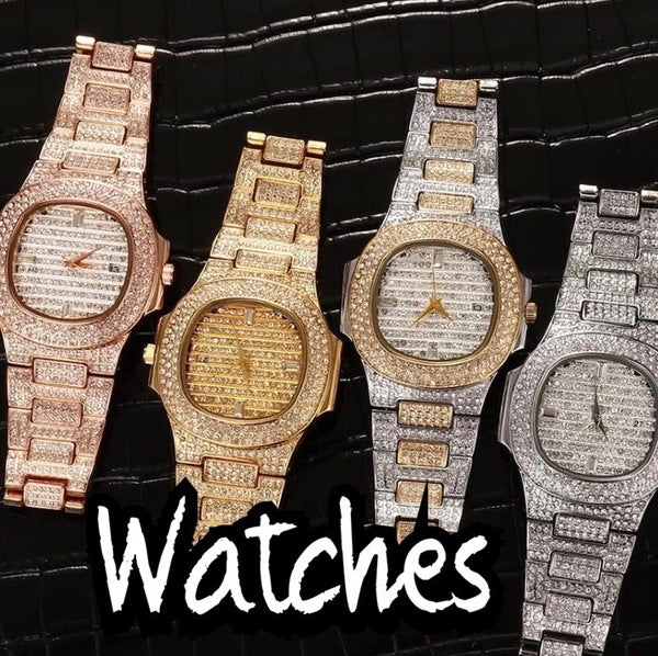 Gold Diamond Hip Hop Watches