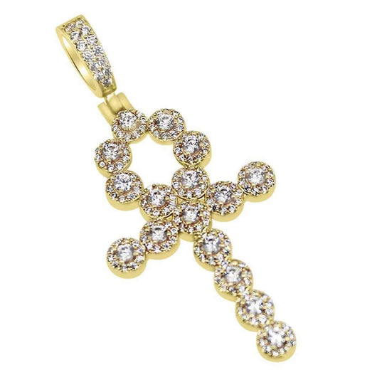 .925 Silver Skinny Cluster Ankh Cross Diamond Bling Bling Gold Pendant ,  , Green Box Jewellers - Custom Diamond Pendant - Diamond Jewelry - Custom Diamond Jewelry - Diamond Iced Out Hip Hop Jewelry