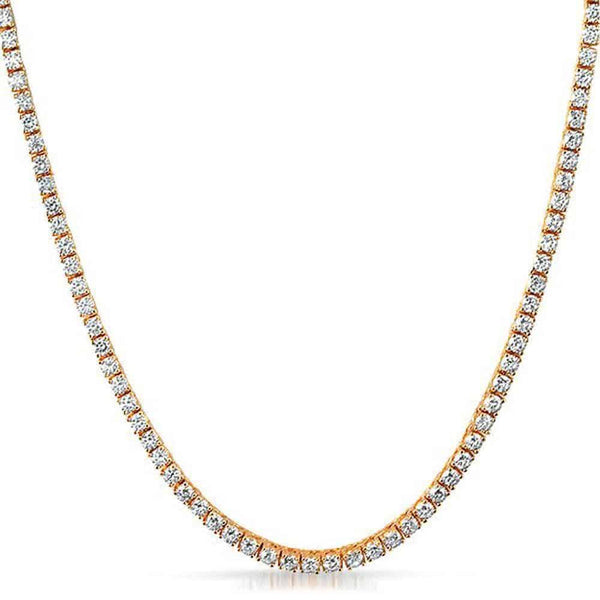 .925 Sterling Silver 4MM Diamond Tennis Chain Rose Gold - Green Box Jewellers