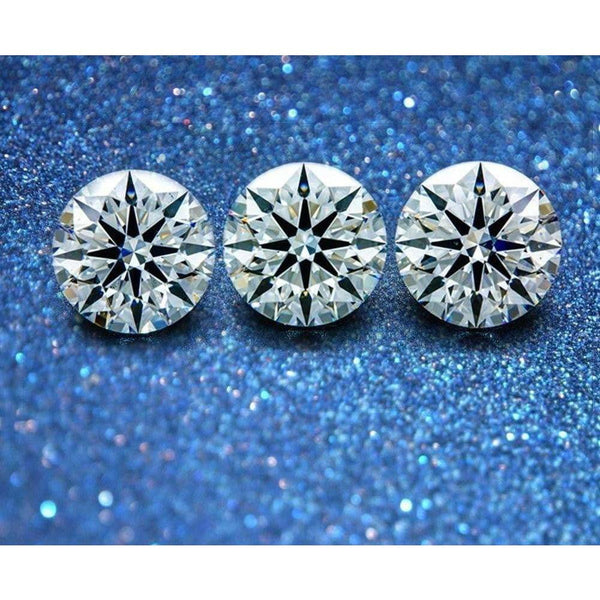 VVS 3.0~12mm Round European Star Earrings - Green Box Jewellers