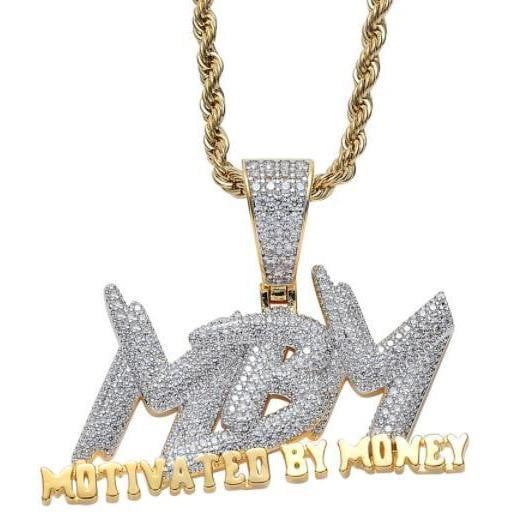 Micropaved Diamond Motivated By Money Pendant ,  , Green Box Jewellers - Custom Diamond Pendant - Diamond Jewelry - Custom Diamond Jewelry - Diamond Iced Out Hip Hop Jewelry