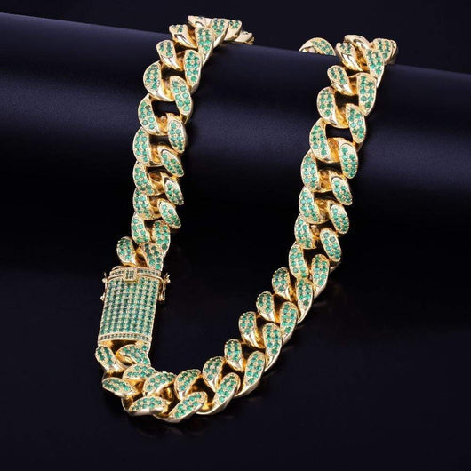 20mm Heavy Green Miami Cuban Link Necklace - Green Box Jewellers