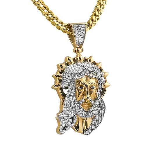 Yellow Gold Jesus Halo Custom Pendant ,  , Green Box Jewellers - Custom Diamond Pendant - Diamond Jewelry - Custom Diamond Jewelry - Diamond Iced Out Hip Hop Jewelry