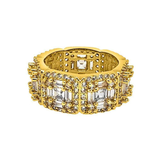 .925 Silver Exotic Baguette Princess Eternity Band Diamond Gold Ring ,  , Green Box Jewellers - Custom Diamond Pendant - Diamond Jewelry - Custom Diamond Jewelry - Diamond Iced Out Hip Hop Jewelry