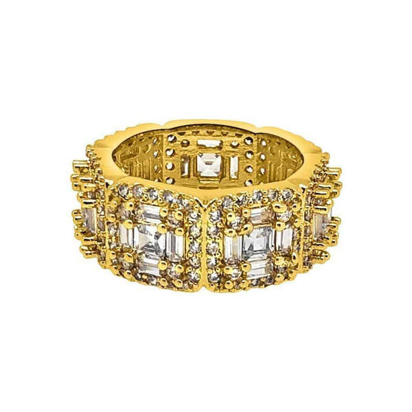 .925 Silver Exotic Baguette Princess Eternity Band Diamond Gold Ring - Green Box Jewellers