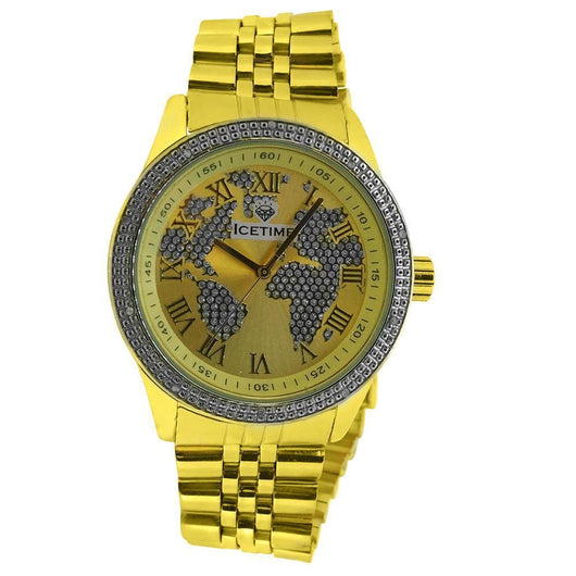 Yellow Gold IceTime Continential .10ct Genuine Diamond HipHop Watch ,  , Green Box Jewellers - Custom Diamond Pendant - Diamond Jewelry - Custom Diamond Jewelry - Diamond Iced Out Hip Hop Jewelry