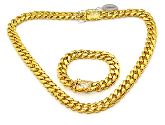18K Yellow Gold Miami Cuban Link Necklace + Bracelet Set Iced Lock ,  , Green Box Jewellers - Custom Diamond Pendant - Diamond Jewelry - Custom Diamond Jewelry - Diamond Iced Out Hip Hop Jewelry