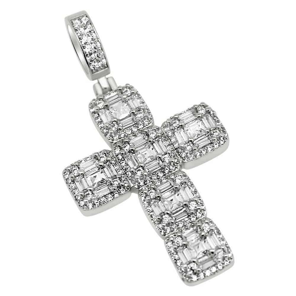 .925 Silver Asscher Cut Diamond Cluster White Gold Cross  -   - GreenBox Jewellers - Hip Hop Jewelry - iced out pendant - gold cuban link - shop gld - gld - gold jewelry