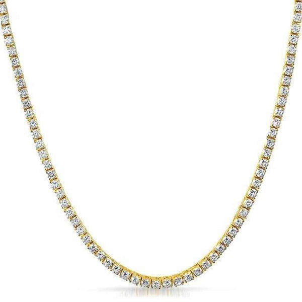 .925 Sterling Silver Yellow Gold 3MM Diamond Tennis Chain - Green Box Jewellers